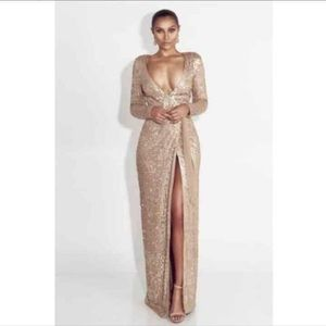 Gold Sequined Deep V Gown